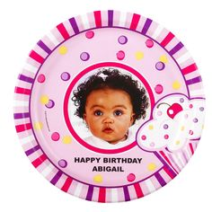 Girl's Lil' Cupcake 1st Birthday Personalized Dinner Plates from BirthdayExpress.com