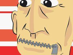 Ilustração de Lucas Pacífico representando um homem de olhos bem abertos e com a boca fechada a zíper - do blog Sun Tzu e A Arte da Guerra (http://www.suntzulives.com/).