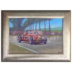 Original Painting. Fangio drives his Alfa-Romeo 158 to victory in the 1950 French Grand Prix at Reims. Fangio's 3rd Grand Prix victory.