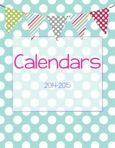 FREE 2014-2015 Teacher's Monthly Calendar - Light Blue Polka Dots 2-page monthly spread from July 2014-June 2015 Also includes dates to remember & student birthday pages!