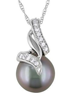 10K White Gold 9.5-10mm Black Tahitian Pearl & Diamond Pendant Necklace