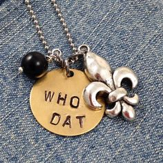 WHO DAT Fleur de Lis Charm Necklace for New Orleans Saints Football Fans - Handstamped Brass Tag - Black Bead - NFL - Can Be Personalized - Louisiana