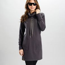 You'll love life in this sporty, sweatshirt-style dress with versatile stand-up collar. Wear the collar plain and simple or give the drawstring a tug to create a ruched effect. This snappy little dress slips easily from your hectic life to the peace of the yoga studio in our luscious Eco Tech Fleece, a soft, moisture-wicking blend of organic cotton and polyester.   •  Two hand pockets   •  Ribbed cuffs   •  Length: 33 inches  New staple in my closet!  Great with loafers or boots!