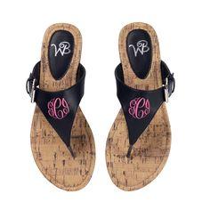 57b17faa869b Black Monogram Sandals