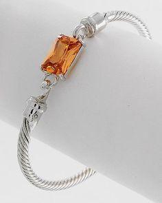 Citrine CZ Classic Cable Bracelet on Emma Stine Limited