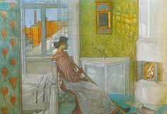 Martina In Front Of The Fire, Watercolour by Carl Larsson Sweden) Carl Larsson, Large Painting, Painting & Drawing, Illustrations, Illustration Art, Art Sur Toile, Unique Poster, Scandinavian Art, Scandinavian Christmas
