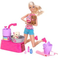 Barbie Suds And Hugs Doll & Pups Play Set