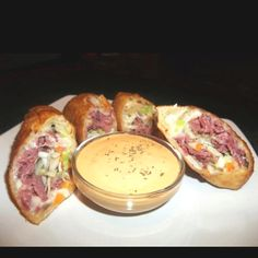 Corn beef, cabbage, Swiss cheese egg rolls with thousand island dipping sauce