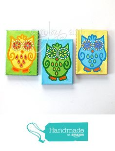 3 Funky Owls, Set of 3 5x7x.75 inch acrylic paintings of decorative flower eyed owls by nJoyArt. The edges of this one of a kind original canvases are painted so that framing is not needed. from nJoy Art http://www.amazon.com/dp/B016C8S4W4/ref=hnd_sw_r_pi_dp_WB9fwb00M713B #handmadeatamazon