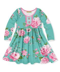 46b1730c9f0fbe Millie Loves Lily | Turquoise & Pink Floral A-Line Dress - Toddler & Girls
