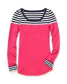 Lilly Pulitzer Maria Boatneck Sweater. pink sweater with striped shoulders and cuffs. preppy, casual, nautical, bold, school, office, church, hangout, for spring or fall.