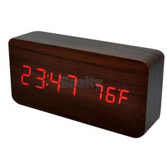 Wooden Style Red Led Alarm Clock Sound Control Temperature Calendar Brown
