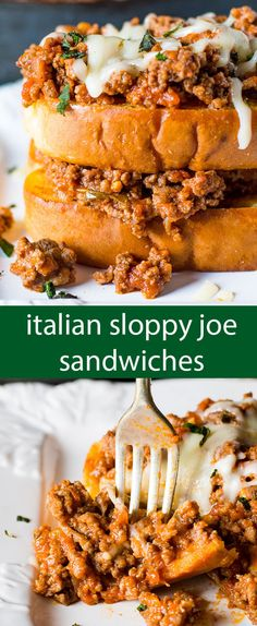 Sloppy Joe Sandwiches made Italian-style! An easy, under 20 minutes, family-friendly dinner idea full of protein and packed with flavor. via @tastesoflizzyt