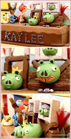 A playful birthday inspired by some angry birds and evil green pigs. Featuring an amazing cake by Intricate Icings, this party brings the game Angry Birds to life! Angry Birds Birthday Cake, Bird Birthday Parties, Angry Birds Cake, 4th Birthday, Birthday Ideas, Birthday Cakes, Chocolates, Fondant, Festa Angry Birds