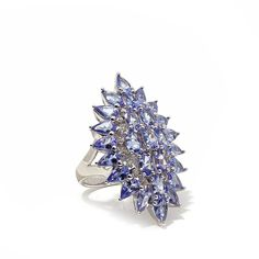 """Colleen Lopez """"Starlight"""" Sterling Silver 5.94ctw Tanzanite and White Zircon Cluster Ring"""