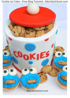 Cookie Jar Cake with Cookie Monster Cupcakes ! iT IS SUCH A funny cake design ! Can you get some new ideas after seeing this cake ? Cookie Monster Cupcakes, Cupcake Cookies, Monster Cakes, Fancy Cakes, Cute Cakes, Cake Decorating Tutorials, Cookie Decorating, Cake In A Jar, Character Cakes