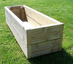 Large decking wooden garden planter, 800 mm, 1000 mm or 1200 mm wood trough, handmade from superior quality outdoor treated deck boards Large decking wooden garden planter 800 1000 or by Bogglewood Large Wooden Planters, Large Garden Pots, Wooden Trough, Wooden Garden Planters, Garden Boxes, Garden Ideas, Garden Troughs, Pallet Planters, Diy Planters