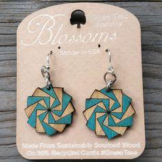 TWILIGHT ZONE Green Tree Jewelry TEAL laser-cut wooden earrings 153 BLOSSOMS #GreenTreeJewelry #DropDangle