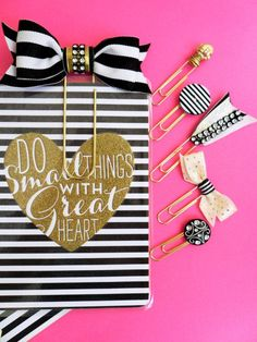 black white and gold planner accessories