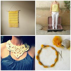 Cotton tapestry by LemonCucullu Strapless top by Crochet necklace by Bohochoco Felt necklace by totalhandmadeD . Felt Necklace, Crochet Necklace, Mustard, Greek, Tapestry, Cotton, Blog, Etsy, Jewelry