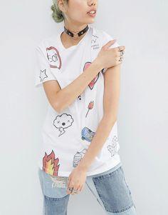 ASOS x Phiney Pet - T-shirt avec dessin imprimé et clous