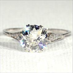 Antique Edwardian 1.4ct Diamond Solitaire Ring in Platinum, European c. 1915 #diamondring