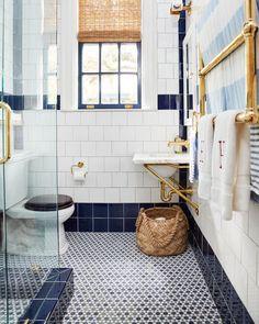 navy and white bathroom, navy and white tile, via Navy Blue Bathrooms, Navy Bathroom, Modern Bathroom, Brass Bathroom, Ikea Bathroom, Bathroom Vanities, Small Bathroom, Master Bathroom, Classic Baths