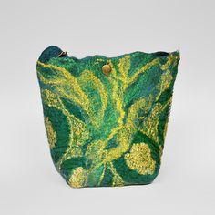 Felted Bag Flower Bag Nunofelt Bag Wearable art  Handbag  Felt Nunofelt Nuno felt Silk green gold fairy  fantasy shoulder bag Fiber Art boho by SwellEcoFashion on Etsy