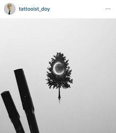 Crescent moon in tree tattoo idea