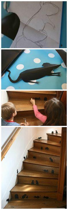 Un escalier décoré pour Halloween - DIY