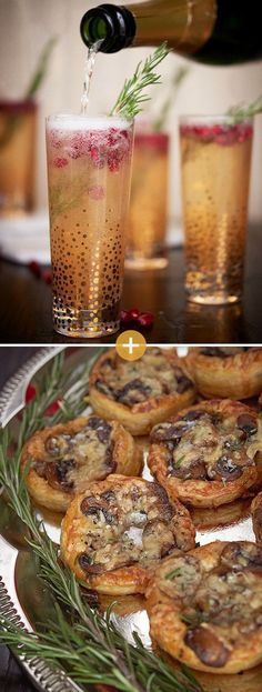 Pomegranate-Rosemary Sparklers + Cheesy Mushroom Tarts | 13 Genius Drink And Snack Combos To Make Your Holiday Party Pop Off
