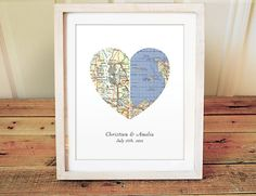 Heart Map Print - Wedding or Engagement Gift - Choose any two cities - Custom Wedding Gift - Engagement Print