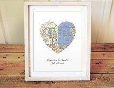 Heart Map Print - We