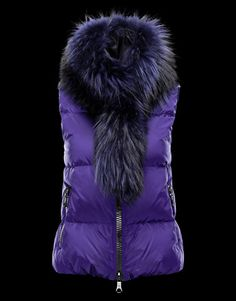 abe4afb61074 MONCLER CER vest with detachable, wide raccoon fur collar in matching colour.  FW12 collection