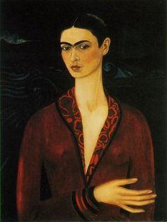 Frida Kahlo: Autoportrait en robe de velours 1926, Collection privée. Magdalena Frida Carmen Kahlo Calderón ou Frida Kahlo. Née en 1907 à Coyoacán au Mexique, et morte en 1954 dans la même ville. Partagea la vie du peintre Diego Rivera pendant quelques années.