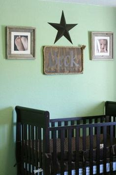 Rustic frames with detailed baby pictures add a heartfelt feel to this nursery.