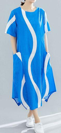 0345526dfe57 Organic o neck asymmetric cotton tunic top Runway blue striped Art Dresses  summer