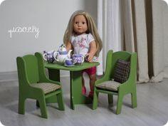 Купить Набор игровой кукольной мебели: стол, два стула - оливковый, стул, стулья, Мебель