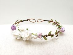 White lilac purple rose flower crown headband/ wedding bridal flower girl delicate floral crown/ rustic bohemian floral wreath head piece by AbbeysBlooms on Etsy