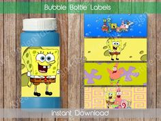 Spongebob Bubble Bottle Labels Spongebob Bubble Bottle Labels Spongebob Party Printables Spongebob T