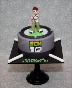 Ben 10 Omnitrix Cake with hand modelled Ben 10 figurine.