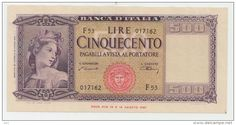 Italy 1948 500 Lire Pick 80 a Collector Banknote Money Notes, Money Bank, The Collector, Ephemera, Stamp, Make It Yourself, Banknote, Vintage, Photo Blog