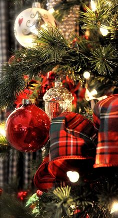 #PANDORAloves this perfectly decorated Christmas tree  with shiny ornaments and tartan ribbon.