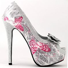 Show Story Silver Butterfly Print Club Party Evening Stiletto Pumps