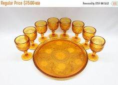 ON SALE Tiara Wine/Cordial Glass and Serving Tray Set in Sandwich-Amber