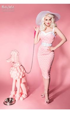 Deadly Dames- Downtown Dame Dress in Baby Pink and White Dots | Pinup Girl Clothing