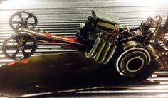 1960's Slingshot dragster. Metal sculpture, assemblage art, scrapture, welded art.