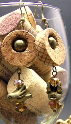 Wine corks and birds! Antique gold bird and gold crystal wine cork earrings by UncorkedJewelry, $18.00