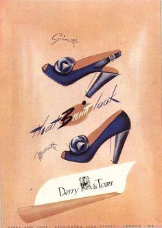 1940s shoe ad navy blue heels pumps spectator bow color photo print
