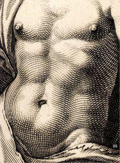 Mercury (detail), Hendrick Goltzius, 1592. Marvelling at the engravers interpretive craft.